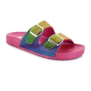 Rainbow Bling Buckle Sandals
